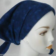 Soft Warm Cotton Flannel Cancer Hair Loss Scarf Turban Head Wrap Dark Blue