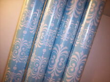 Damask Gift Wrap Blue Fleur De Lis Lys Wrapping Paper Craft White 2 ROLLS 16 ft