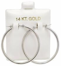 SOLID 14k WHITE GOLD HOOP Earrings *FREE SHIPPING