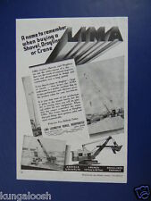 1944 A NAME TO REMEMBER WHEN BUYING A SHOVEL,DRAGLINE OR CRANE LIMA INC SALES AD