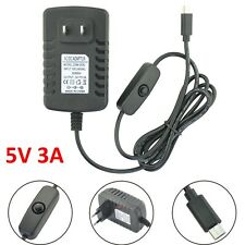 5V 3A AC to DC Micro USB Power Adapter Charger w/Switch For Raspberry Pi US Plug