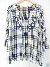 NEW AW16 FALMER Heritage Size 12 CHECK TUNIC TOP Blouse Embroidered BOHO Matalan