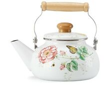 Lenox Butterfly Meadow 2 Quart Enamel Tea Kettle NEW IN BOX