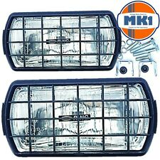 Ring 12v Car Van 4x4 Rectangular Driving Halogen Spot Lamps Lights With Grills
