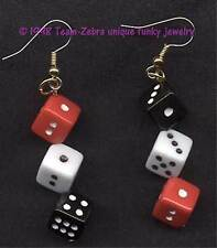 HUGE Funky DICE EARRINGS-Casino Craps Game Lucky Charms Jewelry-RED BLACK WHITE