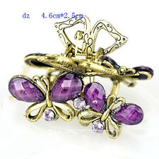 t640391 Purple Butterfly Fashion Rhinestone Hair Crab Clamp Claws Clip Hair Pin