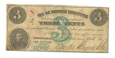 Very Scarce 1862 Civil War 3 Cent Note Van De Bocert Brothers Schenectady NY