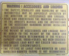 """Honda XBR500 """"avertissement: accessoires et chargement"""" attention avertissement décalque 2"""