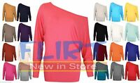 Plus Size Womens Baggy One Off Shoulder Top Batwing Long Sleeve Womens Blouse