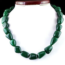 702.50 CTS EARTH MINED HAND MADE GREEN EMERALD SINGLE STRAND BEADS NECKLACE