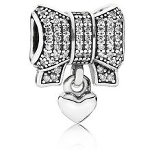 New Authentic Pandora Charm 791776CZ Heart & Bow, Clear CZ Box Included