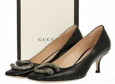 """NEW GUCCI BLACK LEATHER DIONYSUS DETAIL 2"""" HEELS LOAFERS PUMPS  SHOES 38/US 8"""