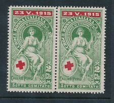 ITALY 1915 WW1 RED CROSS CALLAO PERU 2c CHARITY LABEL PAIR...L2