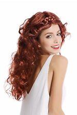 Parrucca Donna Carnevale Rosso-marrone Mix lungo ondulati ricci intrecciata