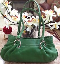 MAXX NEW YORK GREEN PEBBLED LEATHER  SATCHEL HANDBAG EUC