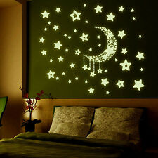 Creative Luminous Stars Moon Fluorescent PVC Decor Mural Decal Wall Stickers