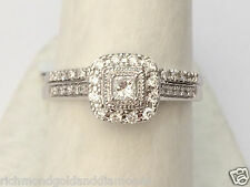 White Gold Halo Vintage Princess Cut Diamond Engagement Bridal Wedding Ring Set