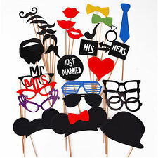 31Pcs LOUS DIY Mask Photo Booth Props Mustache On A Stick Wedding Party New