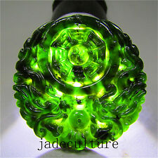 Chinese natural black green jade jadeite pendant hand--carved necklace dragon