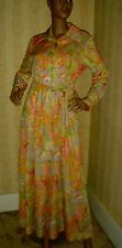 vintage 1970s clothes*LONG*MAXI*DRESS*NOVELTY*PRINT*FRENCH*CUFF*POINTED*COLLAR L