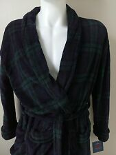 Mens Bathrobe Terry Robe Size S Croft & Barrow by Ralph Lauren Blue Green Plaid