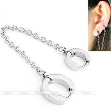 Punk Steel Double Huggie Hoop Link Chain Clip On Piercing Ear Helix Stud Earring