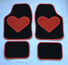 BLACK CAR MATS WITH RED HEART HEEL PAD FOR VOLKSWAGEN VW BEETLE BORA EOS FOX
