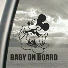 Mickey Mouse BABY ON BOARD car decal, window, ipad or laptop sticker