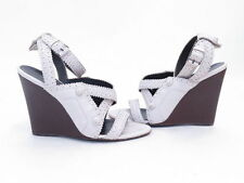 Balenciaga Arena Perforated Leather Ankle Strap Wedge Sandal White Size 39 $725