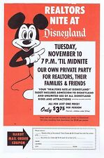Disneyland Walt Disney Realtors Nite Paper Mail in Coupon Flyer/Paperwork 1964