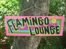 FLAMINGO LOUNGE - TROPICAL TIKI HUT DRINK BAR POOL HAWAIIAN BEACH SIGN PLAQUE