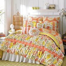DENA Home Nostalgia Meadow EUROPEAN Sham Orange Pink Green Yellow Coral White