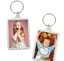 4 Transparent Blank Insert Photo Picture Frame Key Cain Ring Keychain USA Ship