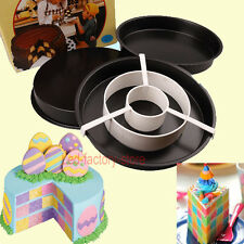 Hot Sale Non-Stick Round Cake Pan Set Divider Tray Checkerboard Bakeware Mold #T