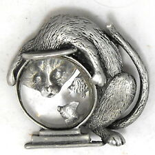 JJ Jonette Jewelry CAT & FISHBOWL Large Jelly Belly Lucite Pewter BROOCH Pin