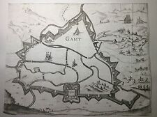 ORIGINALE GRANDE 17th 18th SECOLO mappa o Piano della città fortificata di GANT. 19th