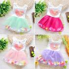 0-4T Baby Kids Girls Floral Princess Party Tulle Dress Toddler Heart Tutu Skirts