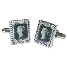 Penny Black Cufflinks Rare Stamp Collector Antique Enthusiast Present Gift Box