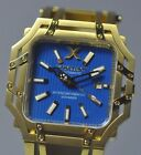 New Mens Xoskeleton Intercontinental Voyager Automatic Blue Dial Gold tone Watch