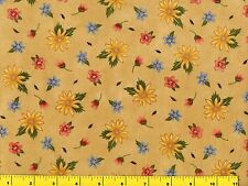 Small Red Yellow Blue Flowers Light Tan Quilting Fabric by Yard  #809
