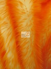 FROZEN SHAG FAUX FAKE FUR LONG PILE FABRIC - Orange - BY YARD COSTUME SHAGGY