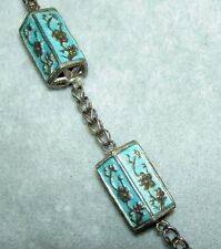 Vintage Art Deco Era Chinese Silver Blue Enamel Cherry Blossom Long Necklace 24""