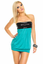 Womens Strapless Sequin Embellished Sexy Club Party Mini Dress size 8 10 12