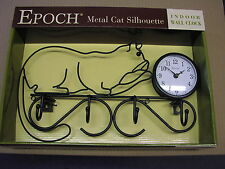 Wrought iron frame Cat Silhouette Wall Clock with coat hooks VERY NICE GIFT-NEW