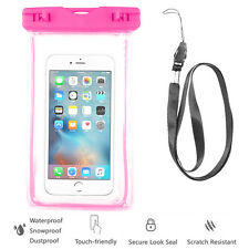 Pink Waterproof Case Cell Phone Dry Bag+Lanyard f/ iPhone 7 & all Smart Phones