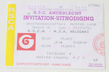 Ticket for collectors CL Anderlecht Brussel - HJK Helsinki 1993 Belgium Finland