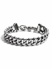 G BY GUESS HEMATITE  TONE CHAIN WITH BLACK & WHITE THREAD DETAIL BRACELET