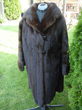 VINTAGE COLOR DARK BROWN NATURAL MINK FUR LONG RANCH COAT SIZE MEDIUM LARGE