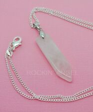 925 Silver Natural Rose Quartz Sword Necklace Pendant Reiki Healing Chakra Stone