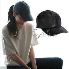 Men Women Genuine Leather Black Adjustable Casual Sport Baseball Golf Cap Hat